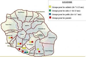 Carte de la Réunion présentant les différents sites de proximité où ont lieu les séances d'éducation thérapeutique collective dans le cadre du CETP obésité
