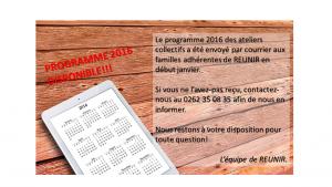 Le programme des activités 2016 est disponible!